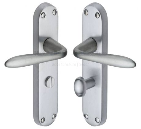 DOOR HANDLE SATIN CHROME POLISHED CHROME LATCH BACKPLATE//KEY LOCK//BATHROOM//EURO