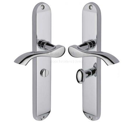 Algarve Shaped Lever Polished Chrome Bathroom Door Handles