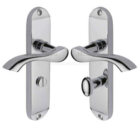Algarve Small Shaped Lever Polished Chrome Bathroom Door Handles