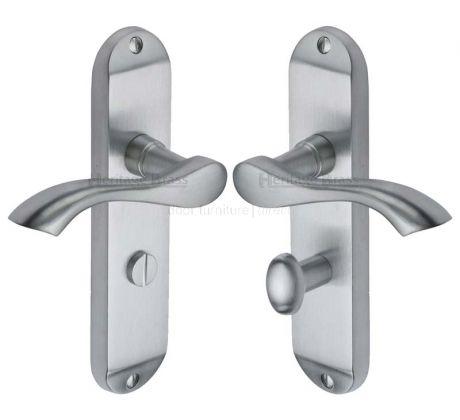 Algarve Small Shaped Lever Satin Chrome Bathroom Door Handles