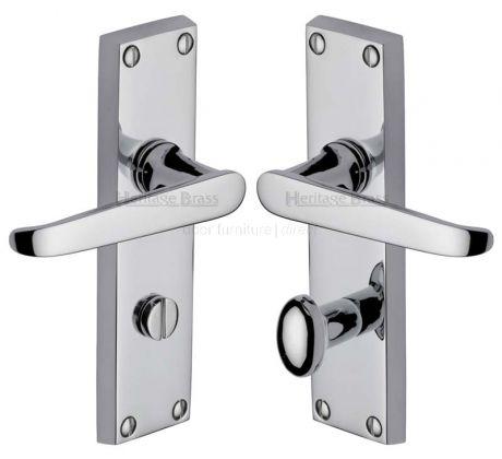 Victoria Straight Lever Polished Chrome Bathroom Door Handles