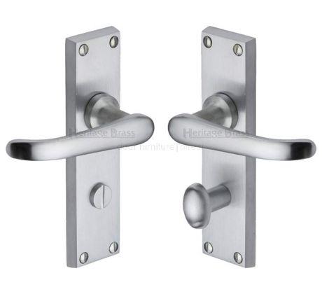 Windsor Straight Lever Satin Chrome Bathroom Lock Door Handles
