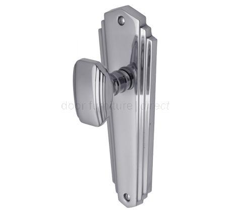 Charlston Art Deco Style Polished Chrome Door Knob on Latch Plate Set