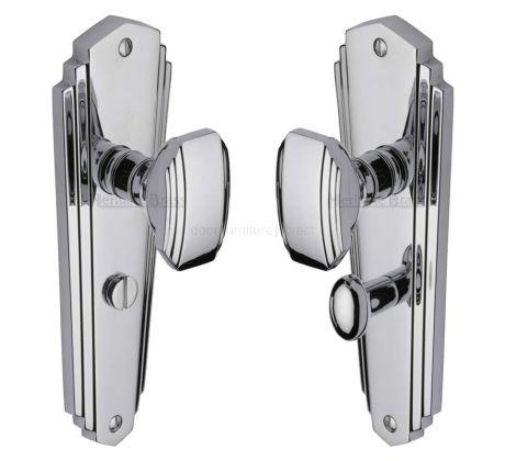 Charlston Art Deco Style Polished Chrome Bathroom Door Knob Set