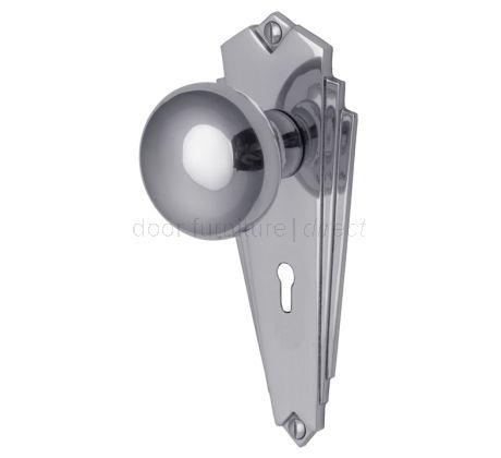 Broadway Polished Chrome Keyhole Door Knob Set