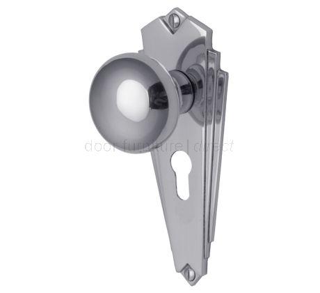Broadway Polished Chrome 48mm Euro Cylinder Door Knob Set