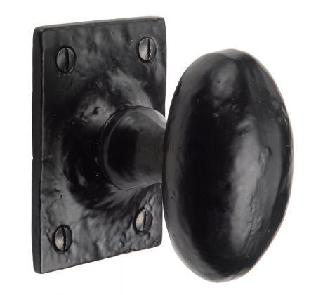 Black Antique Iron Tudor Oval Mortice Door Knob Set 70x51mm