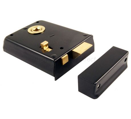 Black Rim Latch With Slide Latch 4x3in (100x76mm)