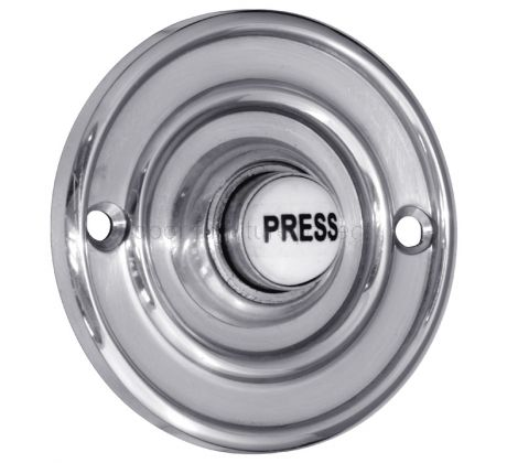 Polished Chrome Circular Bell Push with China Press 60mm