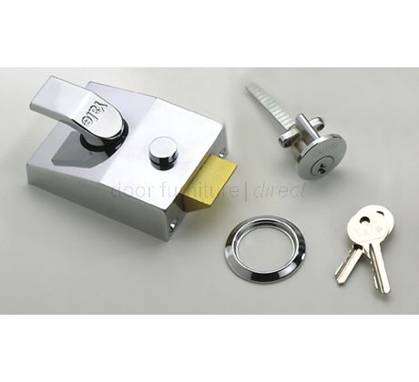 Narrow Style Double Lock Yale Nightlatch 85 Chrome