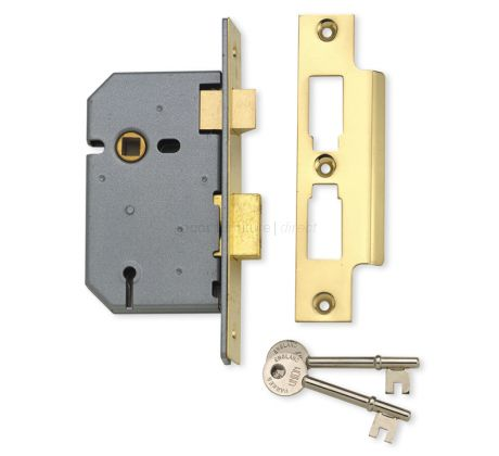 Union 65mm Upright Mortice Lock 3 Lever Polished Brass