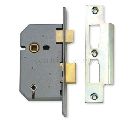 Union 65mm Bathroom Mortice Lock Satin Chrome (Stronger Sprung)