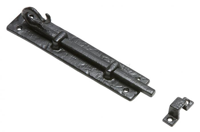 Black Antique Iron Shepherds Crook Straight Door Bolt 152mm 830