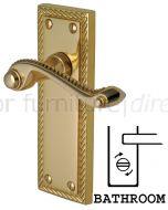 Georgian Polished Brass Rope Edge Bathroom Lock Door Handles