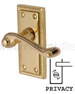Georgian Polished Brass Rope Edge Privacy Lock Door Handles