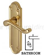 Meridian Scroll Lever Polished Brass Bathroom Lock Door Handles