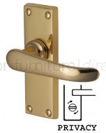 Windsor Straight Lever Polished Brass Privacy Lock Door Handles