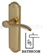 Howard Curved Lever Polished Brass Bathroom Lock Door Handles