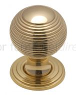 Polished Brass 32mm Reeded Ball Cupboard Knob
