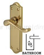 Buckingham Scroll Lever Polished Brass Bathroom Door Handles