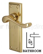 Edwardian Scroll Lever Polished Brass Bathroom Door Handles