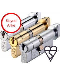 British Standard 6 Pin 1 Star Key and Turn Euro Profile Cylinder Keyed Alike
