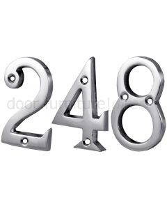 Screw Fix Polished Chrome Front Door Numbers 0-9 2in (51mm)