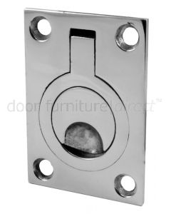 Polished Stainless Steel Flush Ring Pull 44x62mm