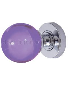 Purple Glass Ball Mortice Door Knobs 60mm