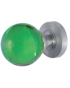 Green Glass Ball Mortice Door Knobs 60mm