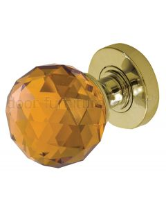 Amber Cut Glass Mortice Door Knobs 60mm