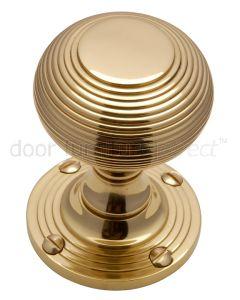 Polished Brass Reeded Mortice Door Knob Set 55mm