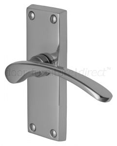 Sophia Curved Lever Polished Chrome Short Plate Latch Door Handles