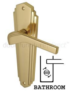 Heritage Polished Brass Waldorf Art Deco Bathroom Handles WAL6530PB