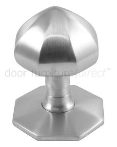 Satin Chrome Faceted Front Door Knob 2.5in (64mm)