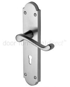 Kensington Satin Chrome Scroll Lever Keyhole Door Handle Set