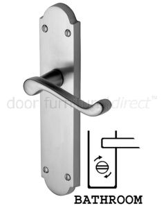 Kensington Scroll Lever Satin Chrome Bathroom Door Handle Set