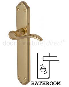 Verona Scroll Lever Polished Brass Bathroom Lock Door Handles