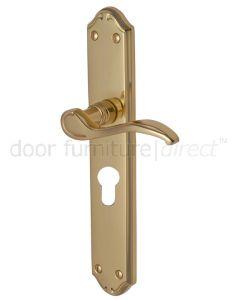 Verona Scroll Lever Polished Brass 48mm Euro Cylinder Door Handles