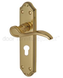 Verona Small Scroll Lever Polished Brass 48mm Euro Cylinder Door Handles