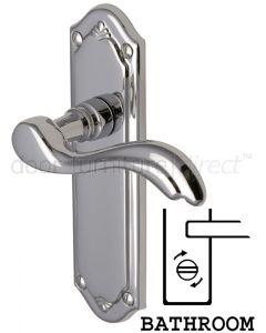 Lisboa Scroll Lever Polished Chrome Bathroom Door Handles