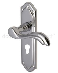 Lisboa Scroll Lever Polished Chrome 48mm Euro Cylinder Door Handles