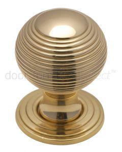 Polished Brass 32mm Reeded Ball Cupboard Knob