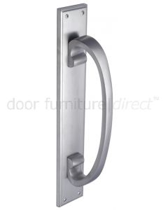 Satin Chrome D Style Door Pull Handle on Backplate 460x76mm