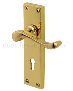 PVD None Tarnish Brass Bedford Keyhole Door Handles