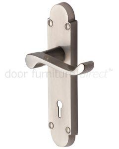 Contract Victorian Satin Nickel Scroll Lever Keyhole Door Handles