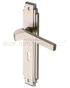 Tiffany Satin Nickel Art Deco Lock Handles