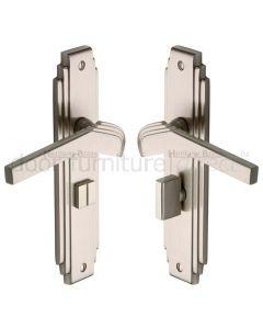 Tiffany Satin Nickel Art Deco Bathroom Handles