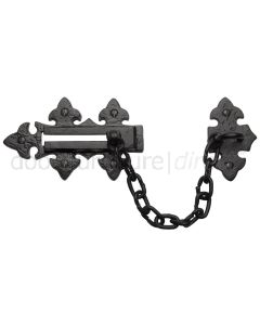 Black Antique Iron Tudor Fleur de Lys Front Door Chain 138x82