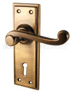 Antique Brass Tudor Lock Door Handles